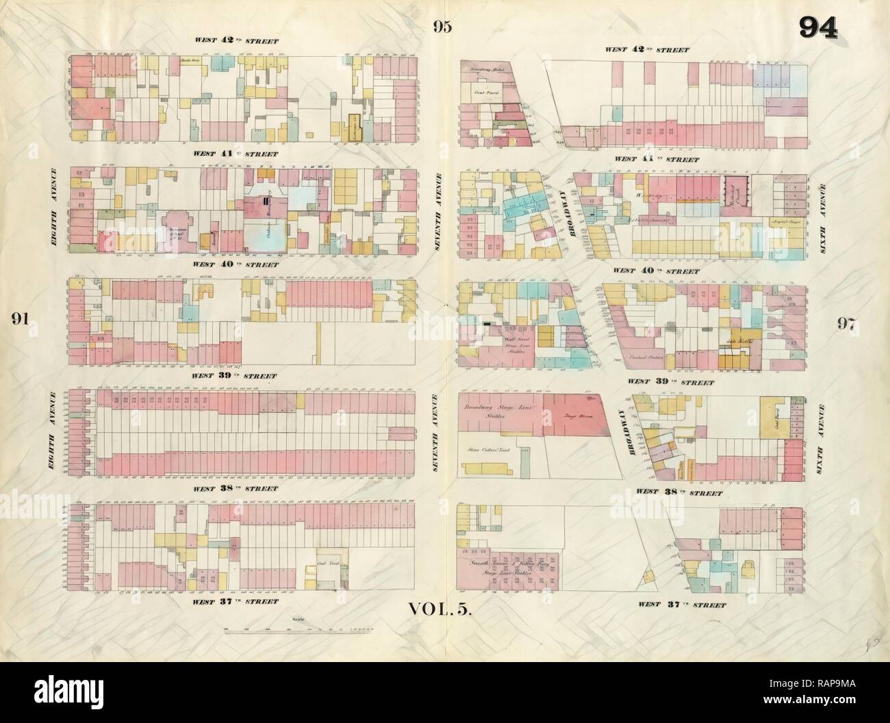 Plate 94: Map bounded by West 42nd Street, Sixth Avenue, West 37th on central park map, grand central map, chinatown map, state fair map, memphis map, new york public library map, streets of new york city map, soho map, san francisco map, sugar map, times square map, fargo map,