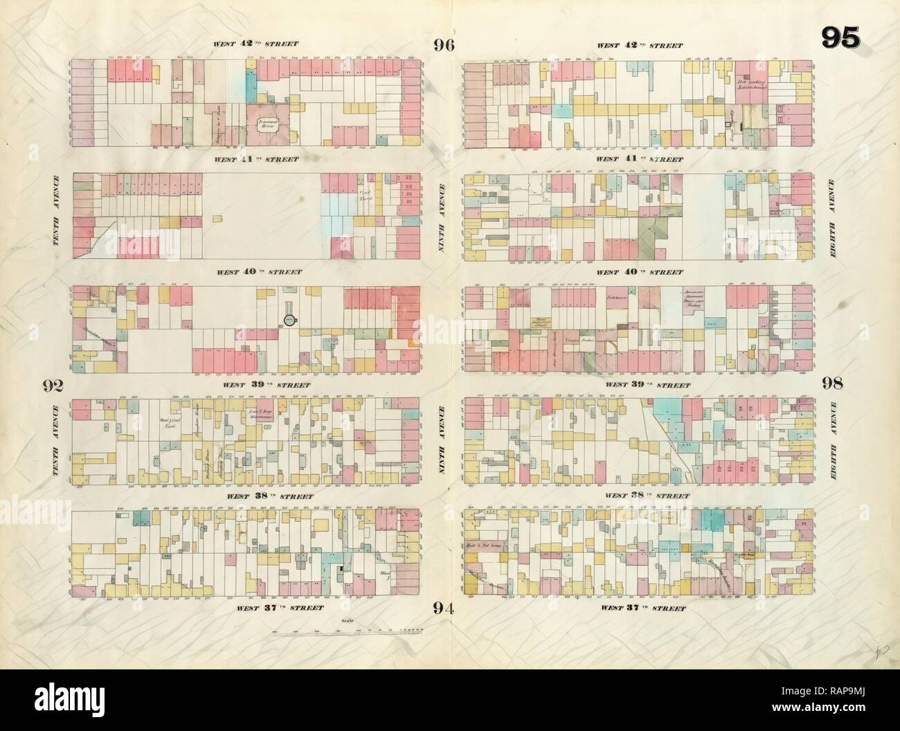 Plate 95: Map bounded by West 42nd Street, Eighth Avenue, West 37th Street, Tenth Avenue. 1857, 1862, Perris and reimagined - Stock Image