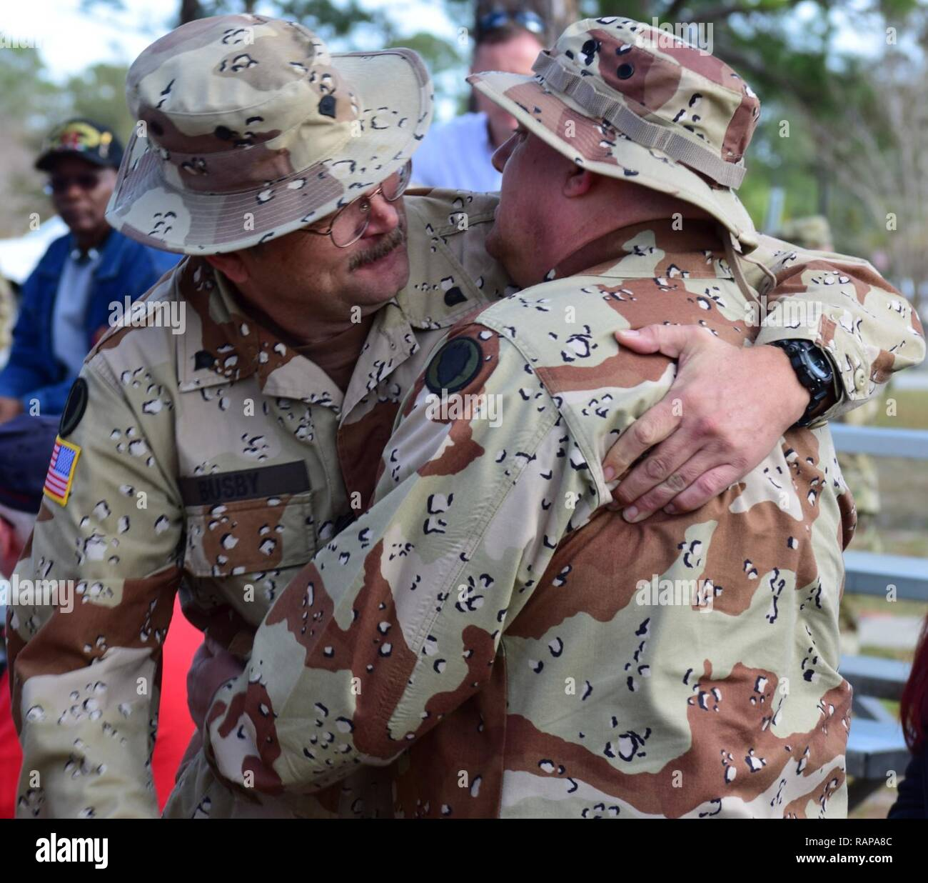 76f194fd1ab Two Veterans from the 24th Infantry Division embrace each other during the  Desert Storm 26th anniversary