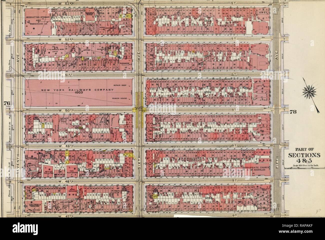 Plate 77: Bounded by W. 53rd Street, Fifth Avenue, W. 47th Street, and Seventh Avenue, New York, USA. Reimagined - Stock Image