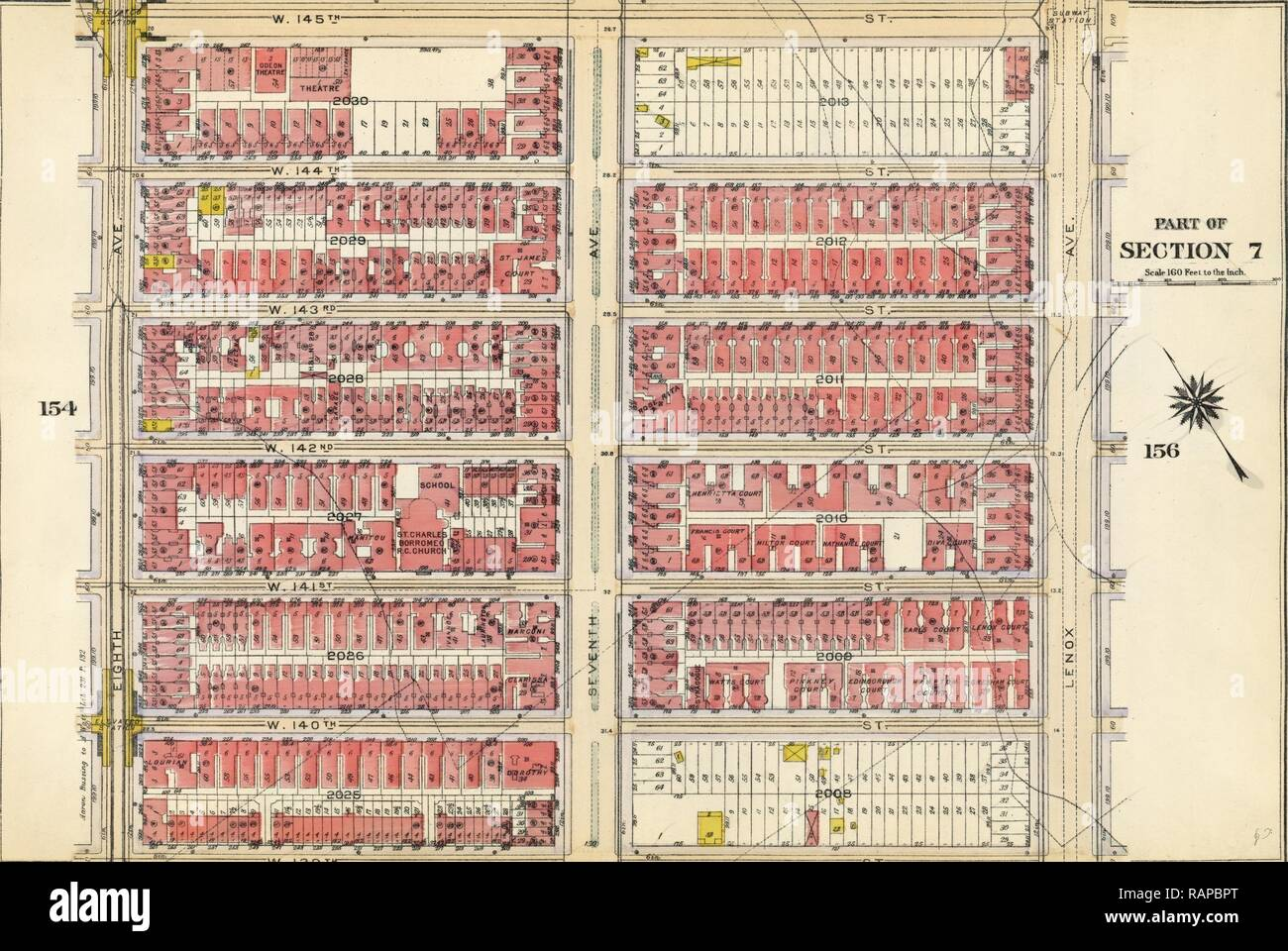 Plate 155: Bounded by W. 145th Street, Lenox Avenue, W. 139th Street and Eighth Avenue, New York, USA. Reimagined - Stock Image
