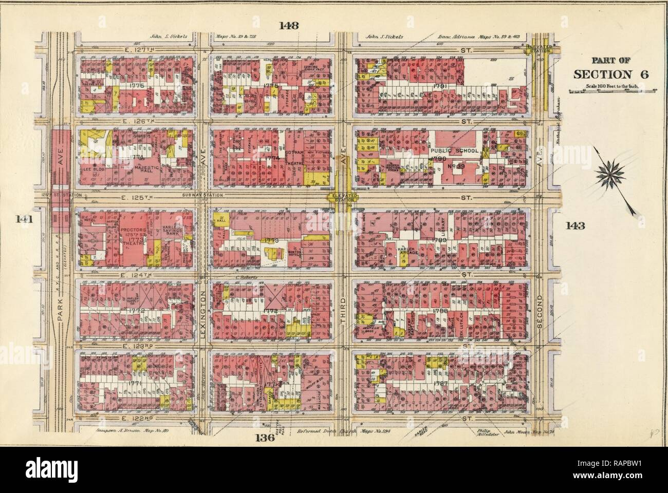 Plate 142: Bounded by E. 127th Street, Second Avenue, E. 122nd Street and Park Avenue, New York, USA. Reimagined - Stock Image