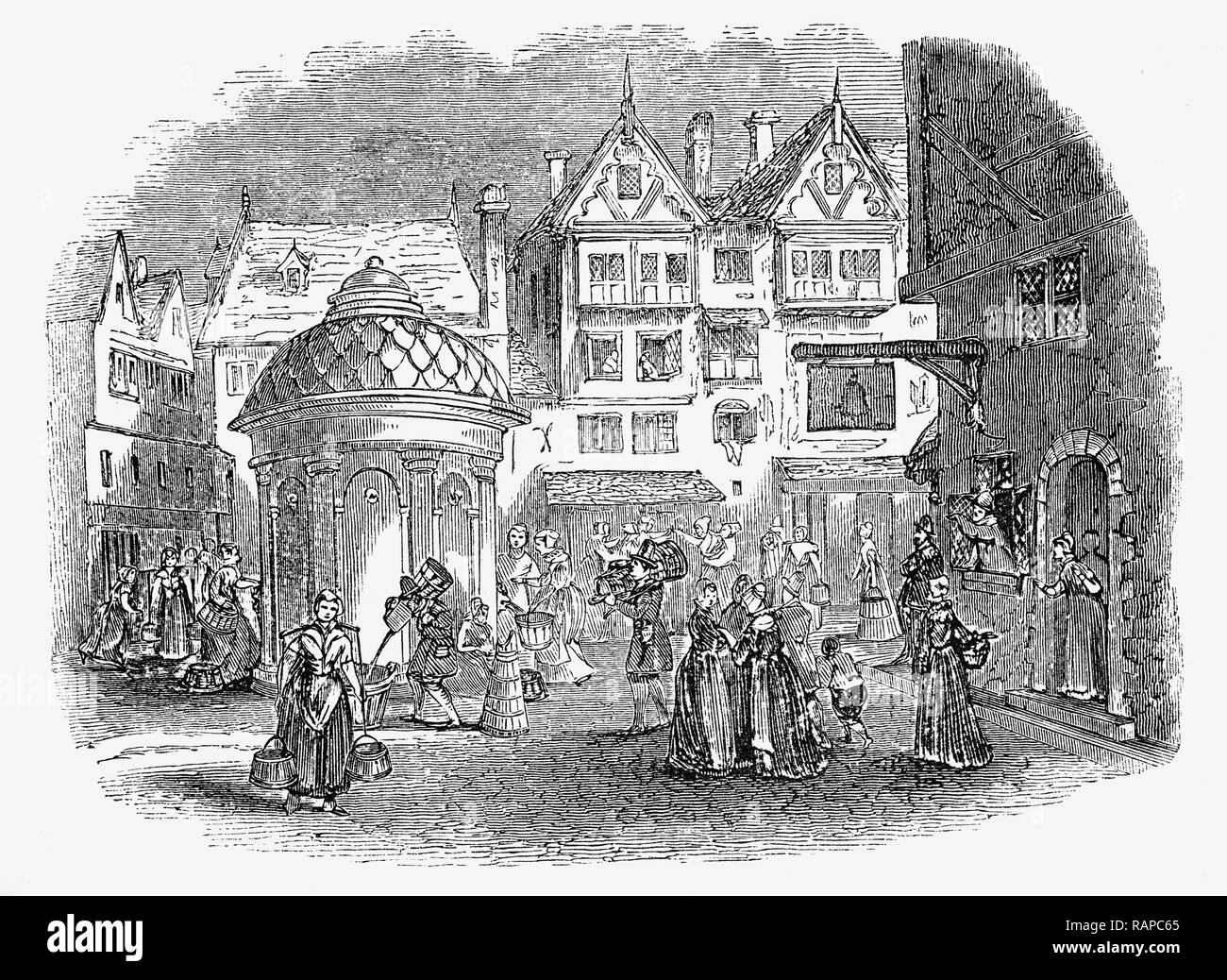 Hogarth's print entitled 'Tittle-Tattle' illustrating how 17th Century women met and gathered around the conduits to collect fresh water and gossip, in the City Of London, England. - Stock Image