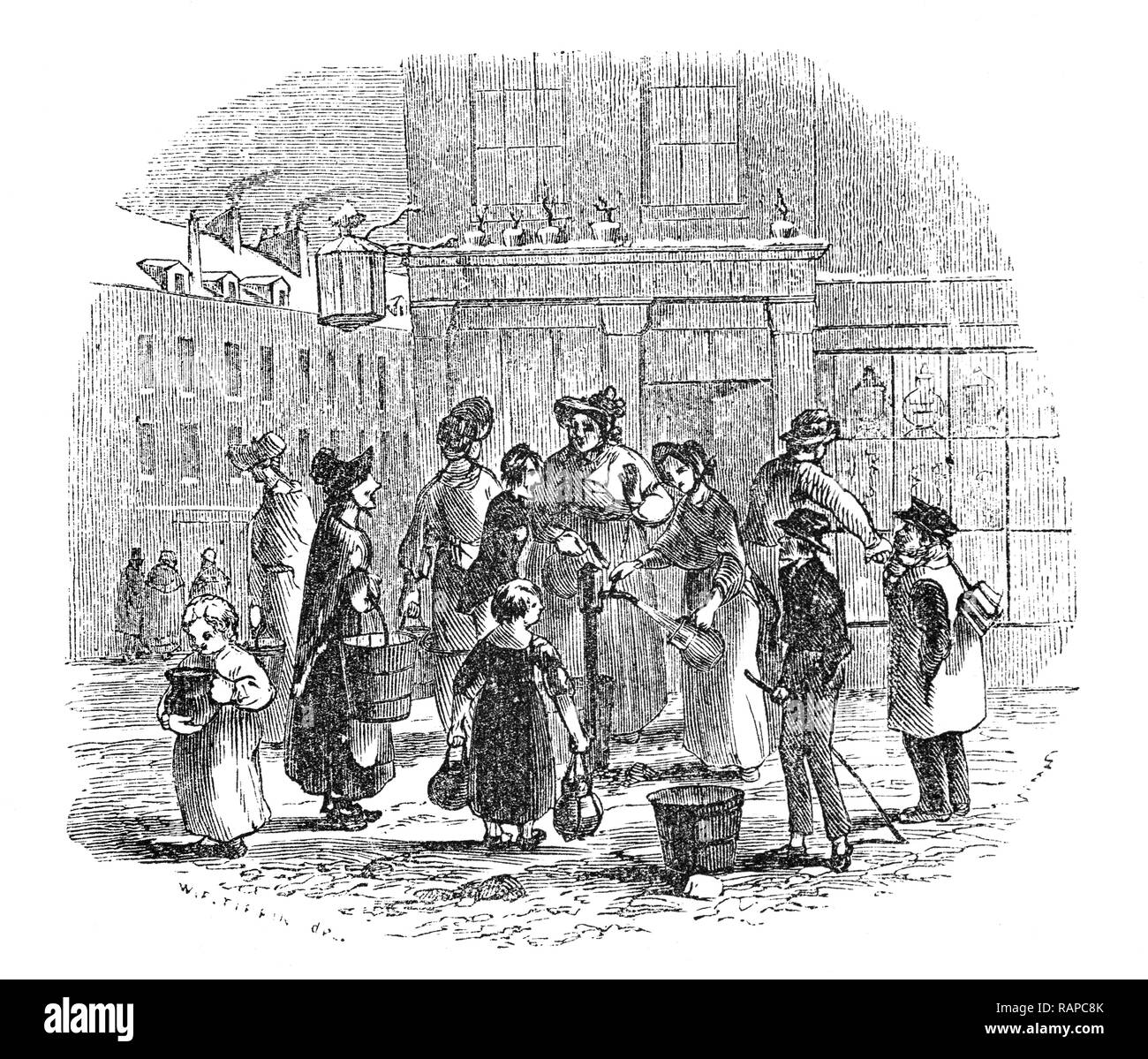 17th Century London and a 'plug in a frost', used when pipes and cisterns in homes were frozen, around which women gathered to replenish water supplies and a chat. - Stock Image