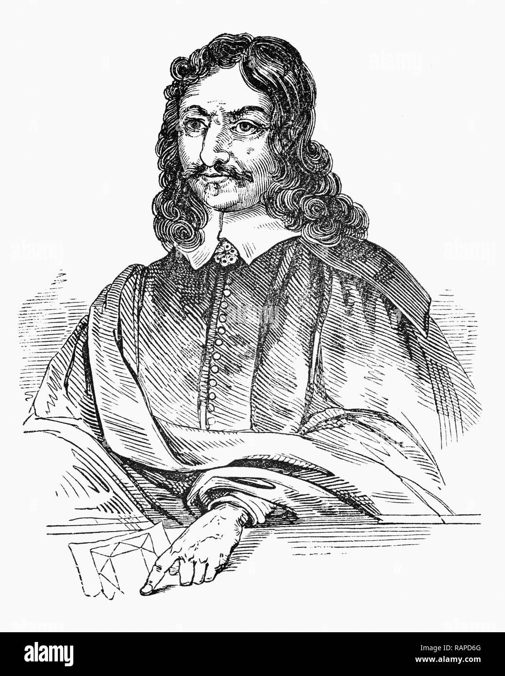 William Lilly (1602-1681), an astrologer  is described as a genius having developed his stature as the most important astrologer in England through his social and political involvement, as well as his impact on the astrological tradition.   In 1647, during the English Civil War, he published Christian Astrology, a huge compendium of astrological technique, the first of its kind to be printed in the English language rather than Latin and by 1659, Lilly's fame was widely acknowledged and his annual almanac was achieving sales of around 30,000 copies a year. - Stock Image