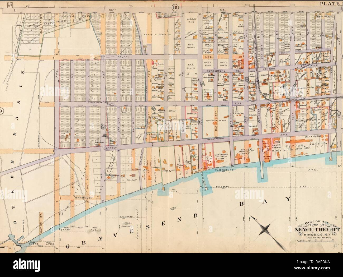 Old map of New York, USA. Reimagined by Gibon. Classic art with a modern twist reimagined - Stock Image