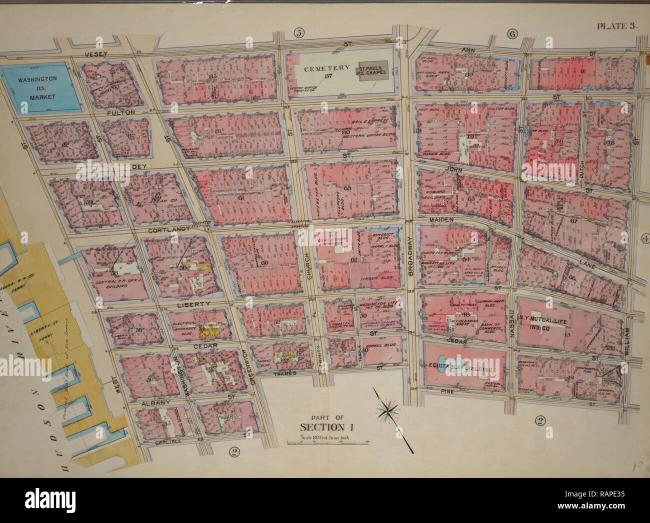 Plate 3, Part of Section 1: Bounded by Vesey Street, Ann Street, William Street, Pine Street, Broadway, Thames Street reimagined - Stock Image