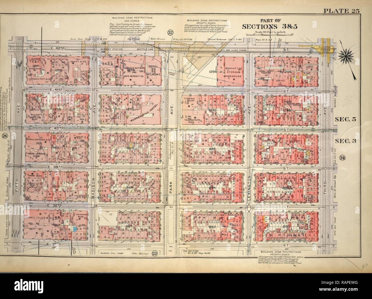 Plate 25, Part of Sections 3&5: Bounded by E. 42nd Street, Third Avenue, E. 37th Street and Fifth Avenue, New York reimagined - Stock Image