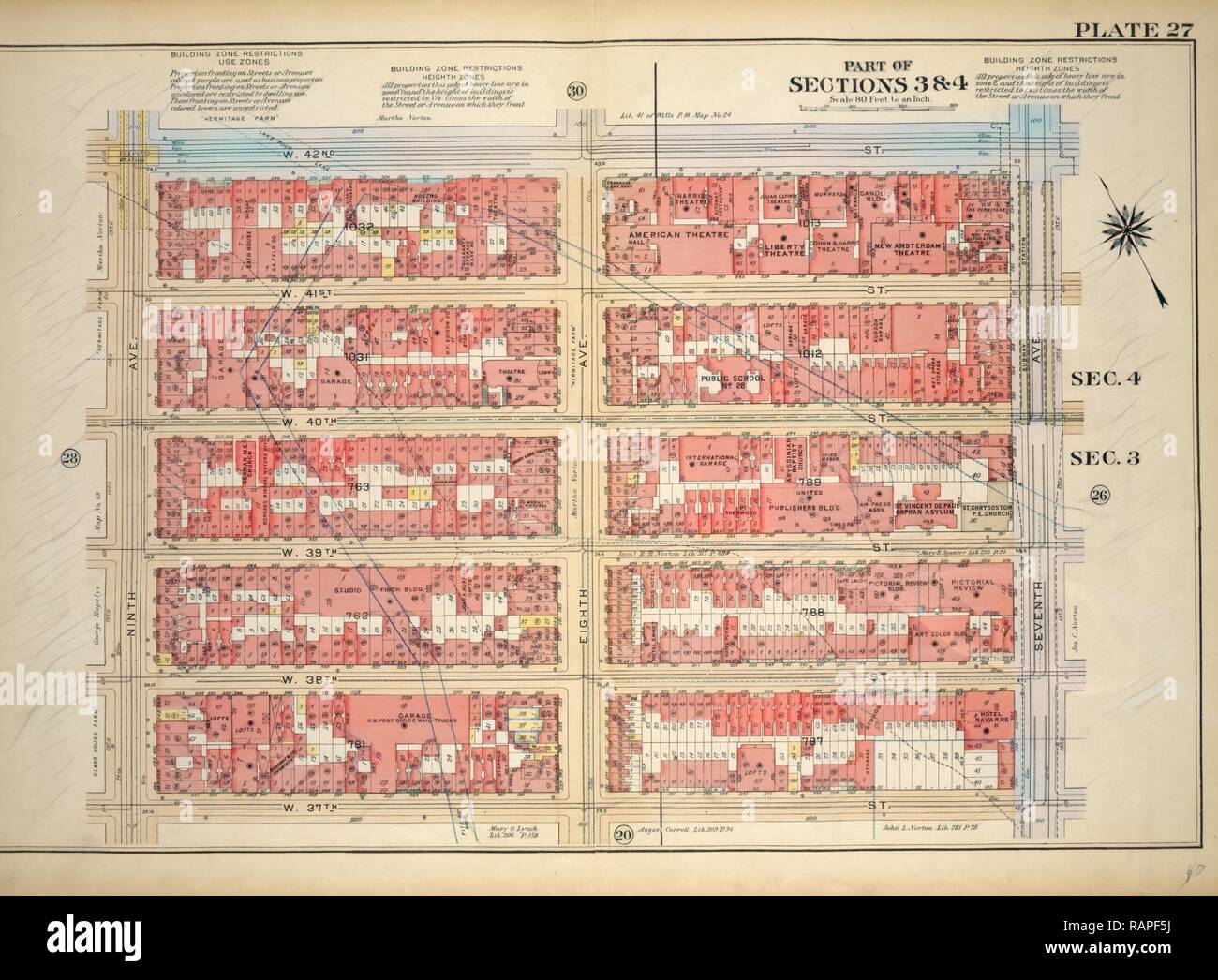 Plate 27, Part of Sections 3&4: Bounded by W. 42nd Street, Seventh Avenue, W. 37th Street and Ninth Avenue, New York reimagined - Stock Image