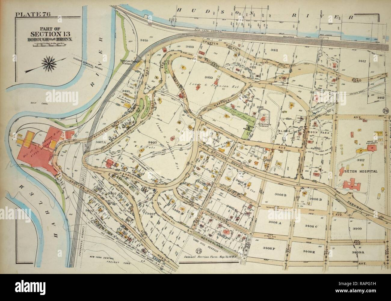 Plate 76, Part of Section 13, Borough of the Bronx. Bounded by Spuyten Duyvil Road, W. 235th Street, Netherland reimagined - Stock Image