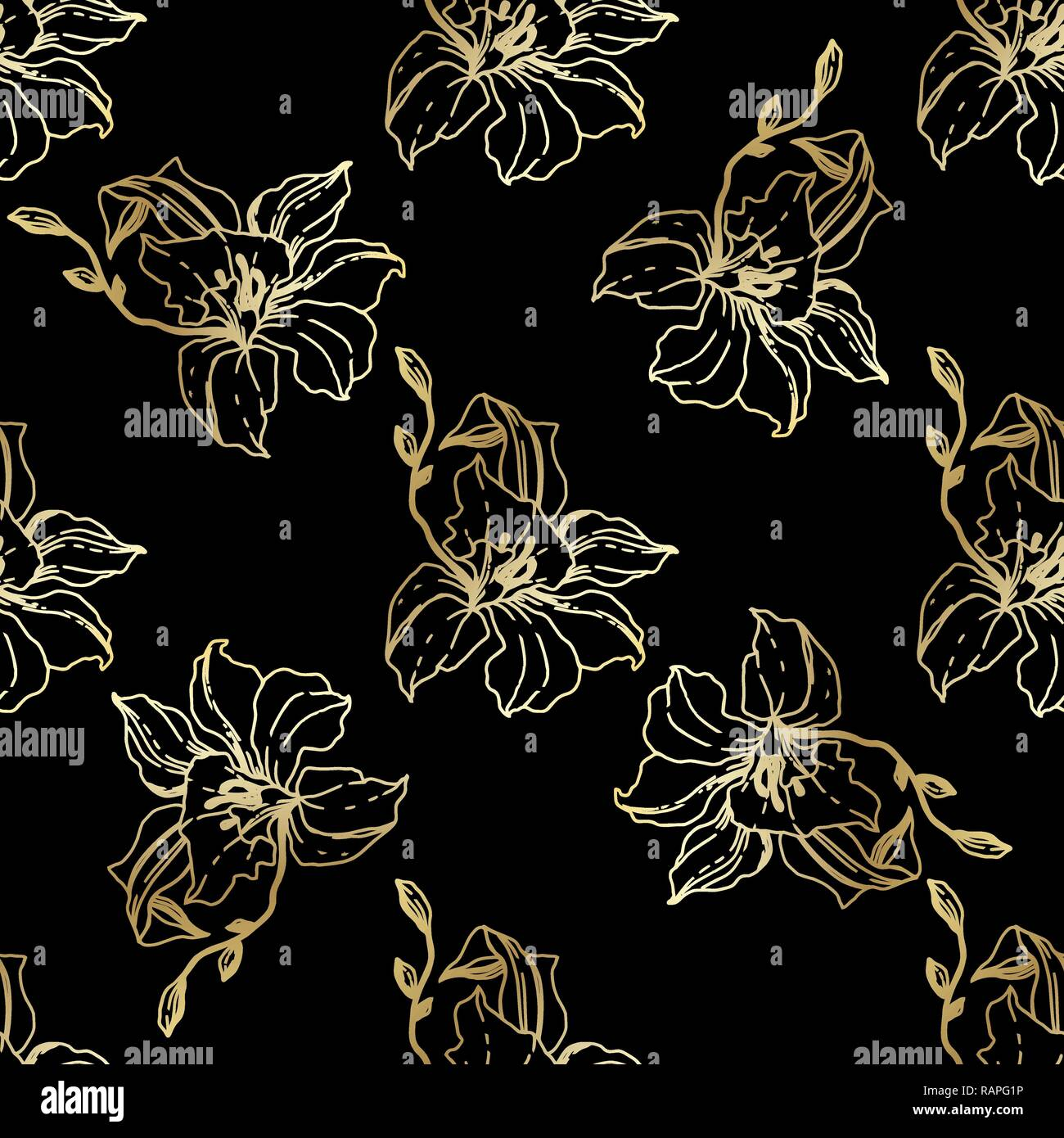 Vector Golden Orchid Floral Botanical Flower Seamless Background