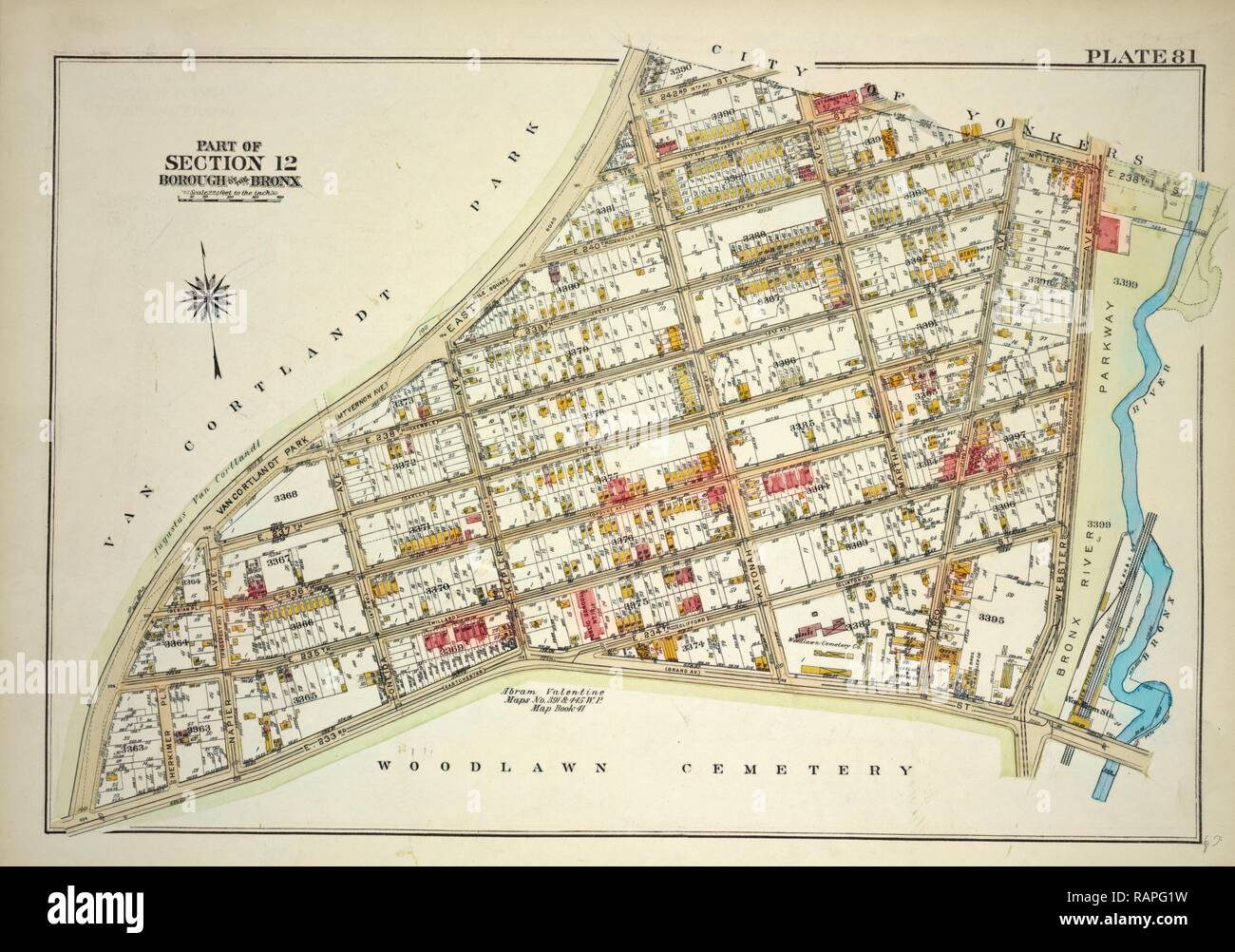 Plate 81, Part of Section 13, Borough of the Bronx. Bounded by Van Cortlandt Park East, E. 242nd Street, Martha reimagined - Stock Image