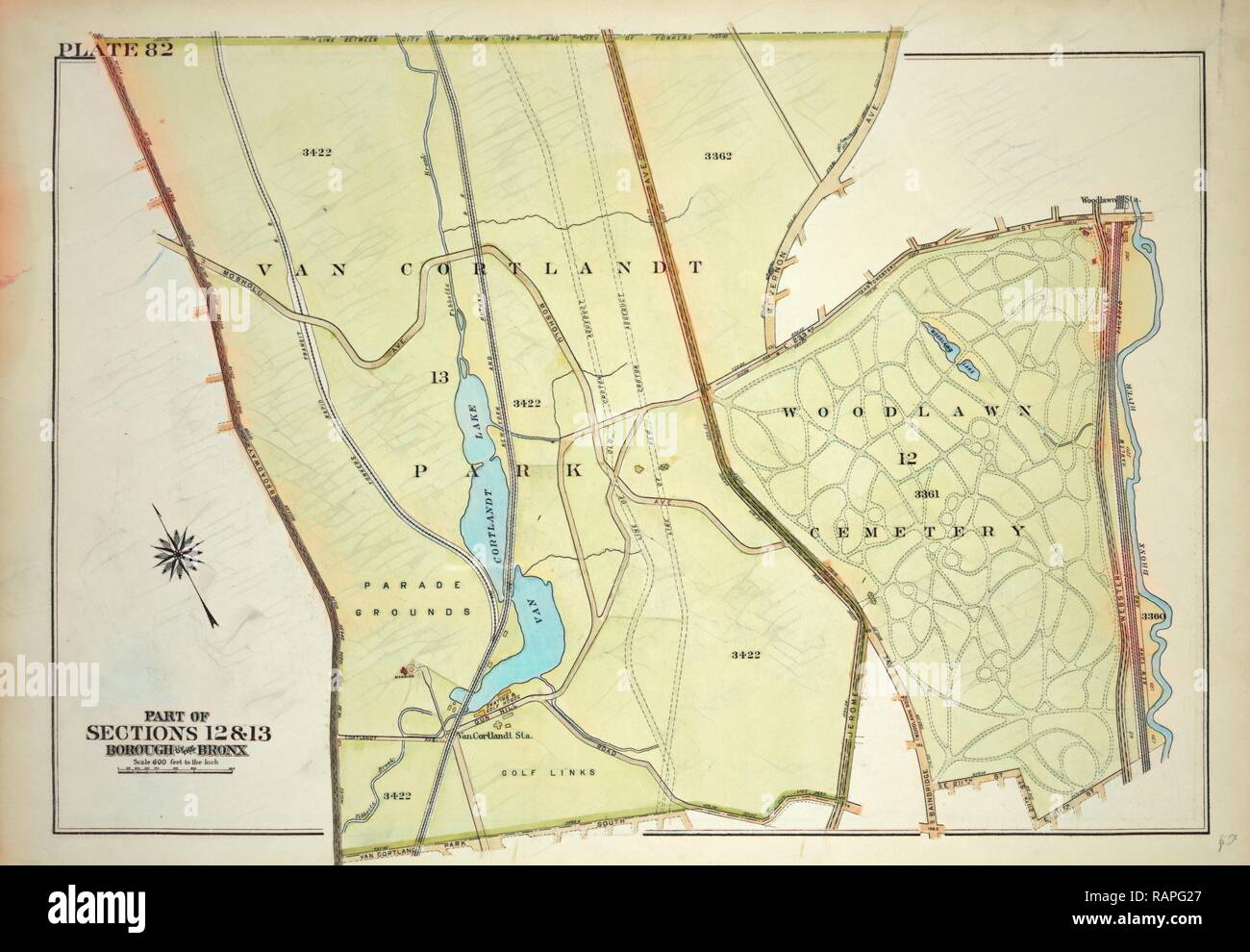 Plate 82, Part of Section 13, Borough of the Bronx. Bounded by Broadway, Van Cortlandt Park South, Gun Hill Road, E reimagined - Stock Image