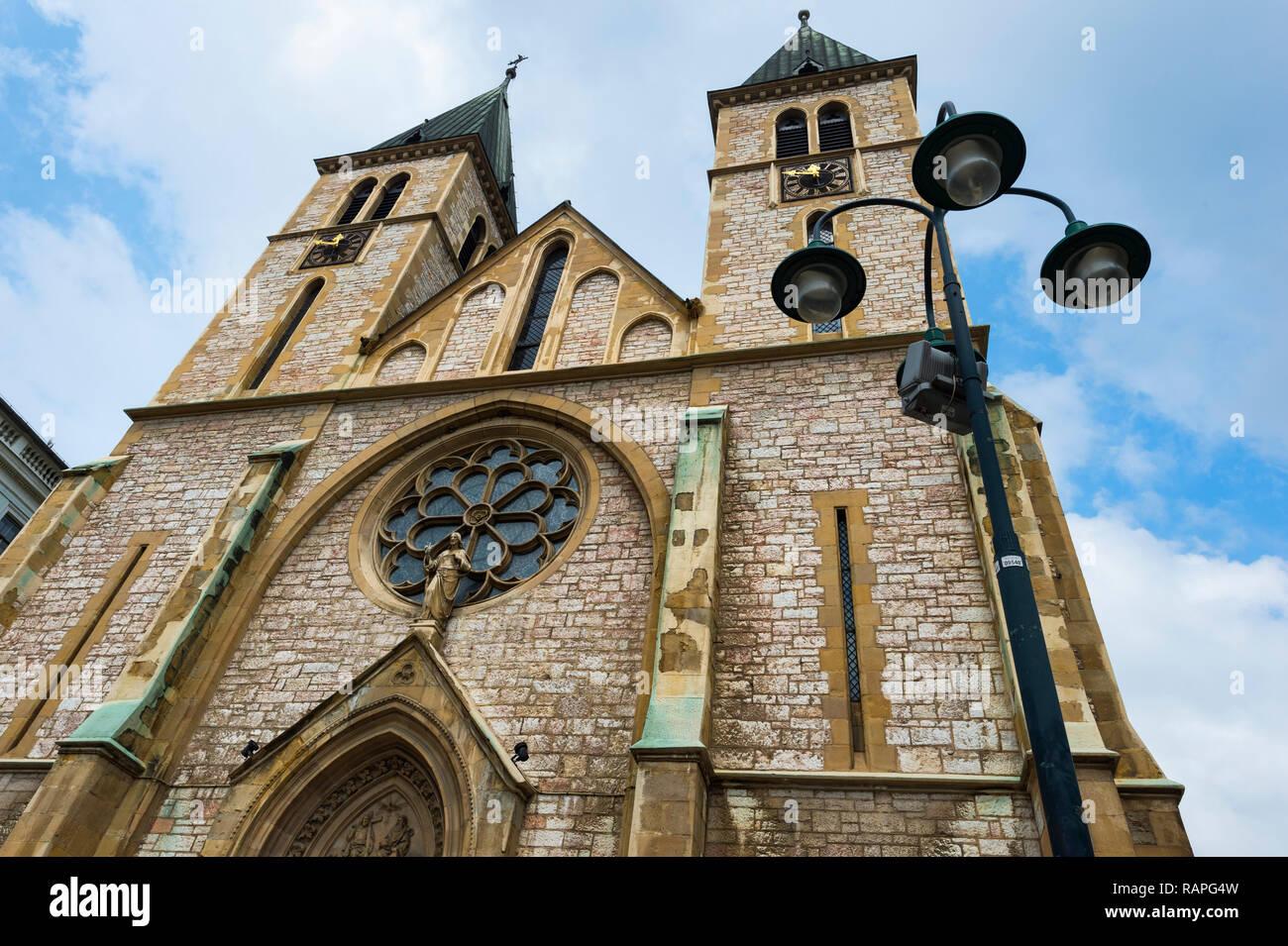 Christian Sacred Heart Cathedral, Sarajevo old town, Bosnia and Herzegovina - Stock Image