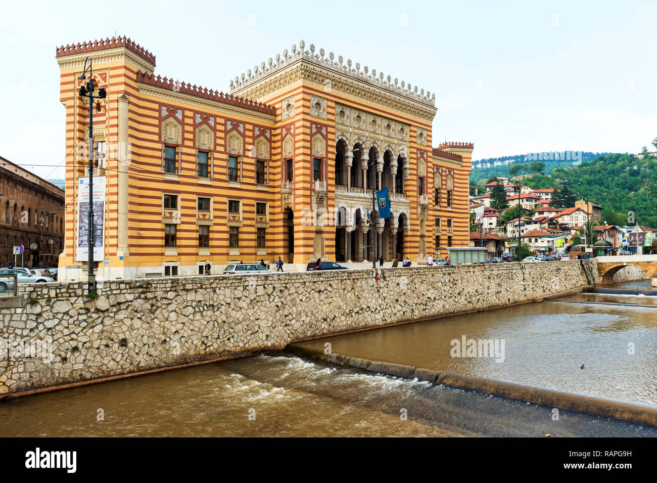 Vijecnica or City Hall, Former National University Library, Sarajevo old town, Bosnia and Herzegovina - Stock Image