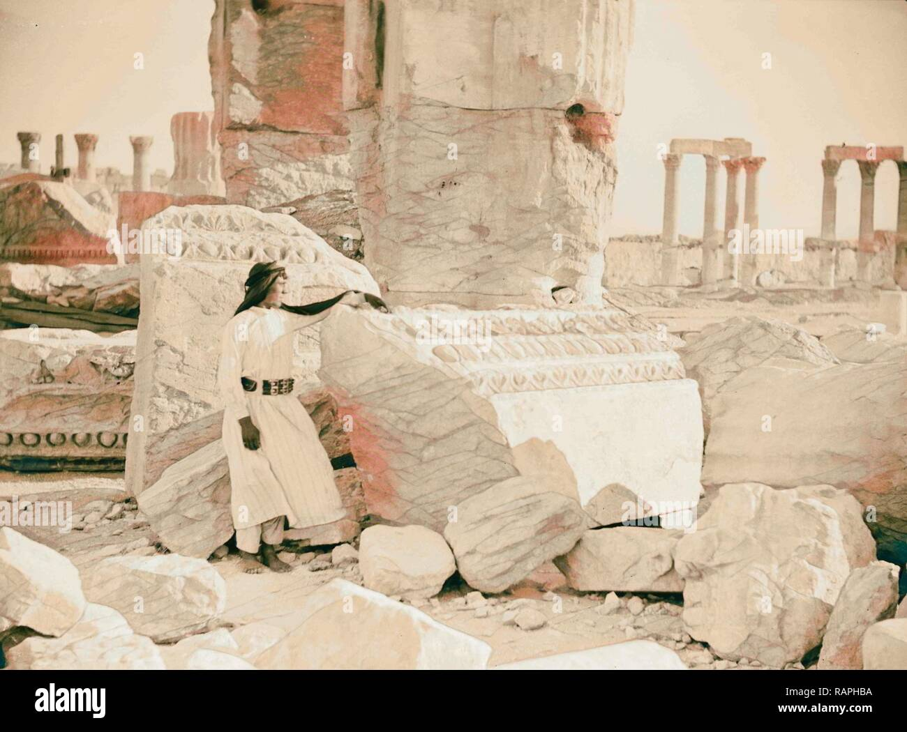 Palmyra. Temple of Baal. Fragments of the entablature, etc., at the main entrance. 1920, Syria, Tadmur. Reimagined - Stock Image