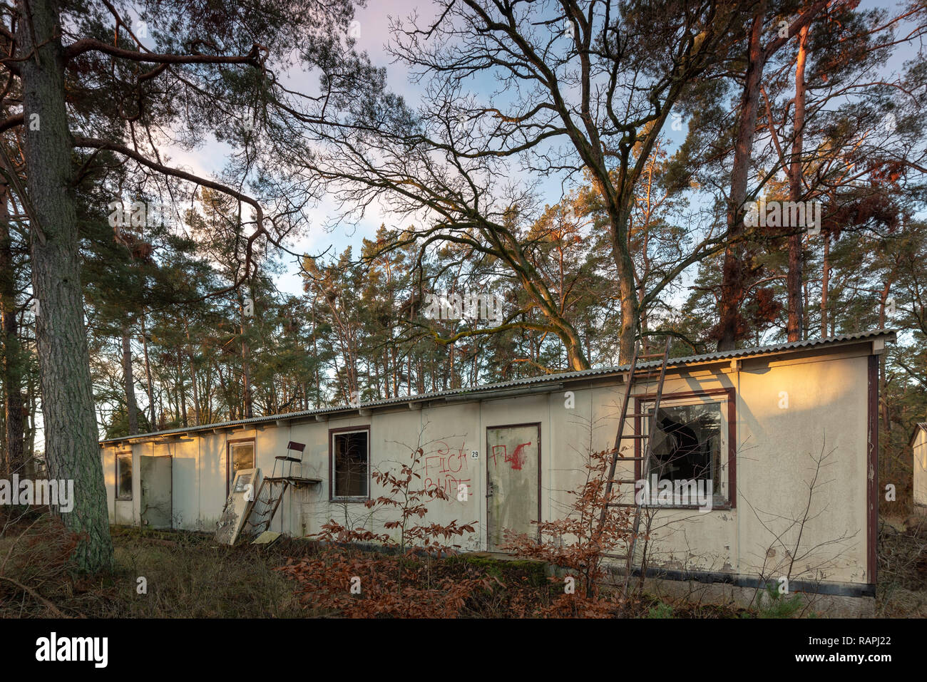 Prerow, Germany - December 30, 2018: View of the old barracks of the former central training centre (ZAZ) of the Gesellschaft für Sport und Technik (G - Stock Image