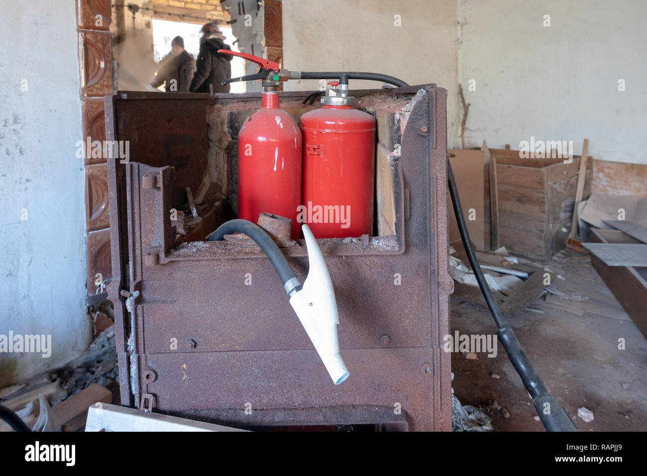 Prerow, Germany - December 30, 2018: View of a fire extinguisher in the former training centre of the Gesellschaft für Sport und Technik (GST) of the  - Stock Image