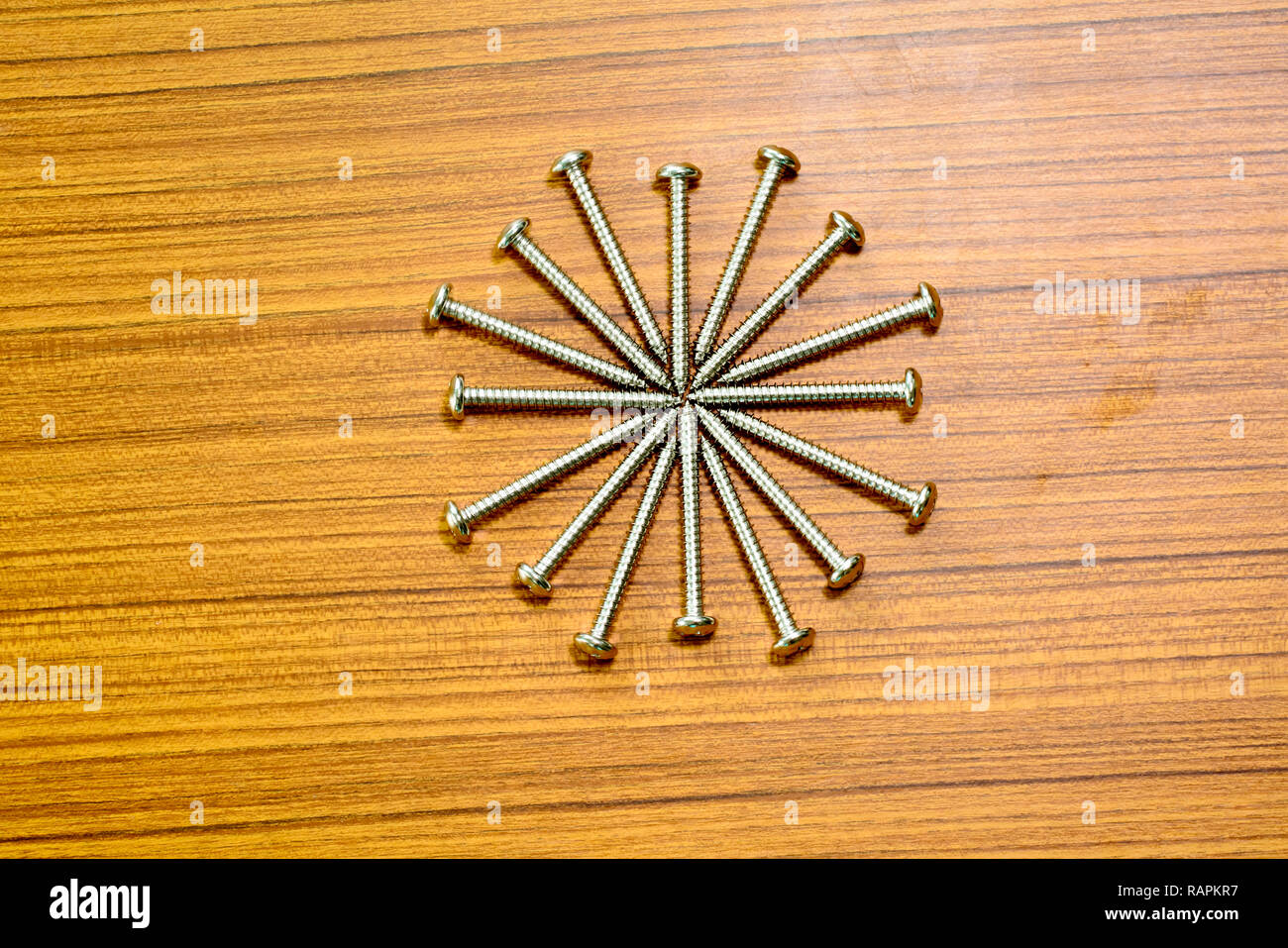 Salf tapping screw on a wood background. - Stock Image