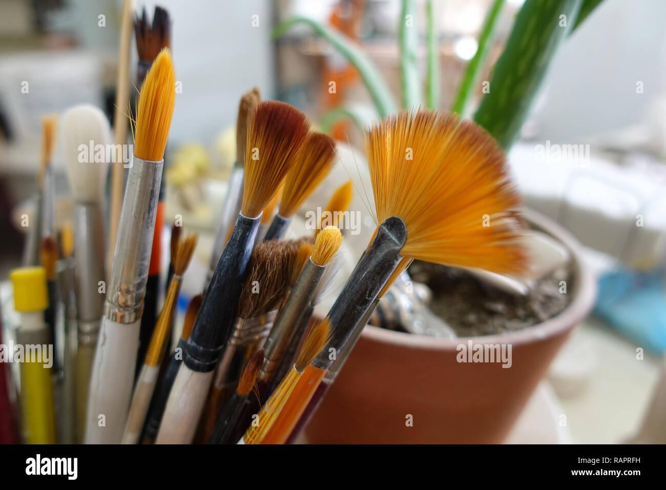 Art Object Paint Brush Equipment in Art School Stock Photo
