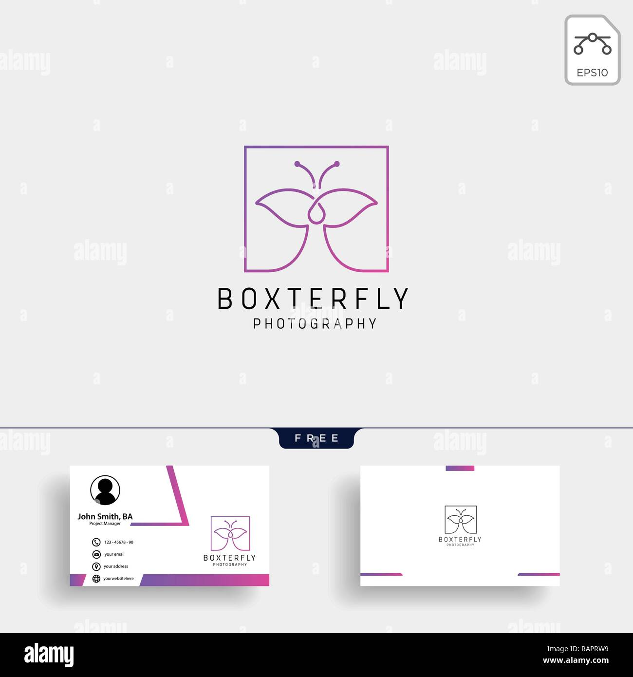 Butterfly Photography logo template with business card - Stock Vector
