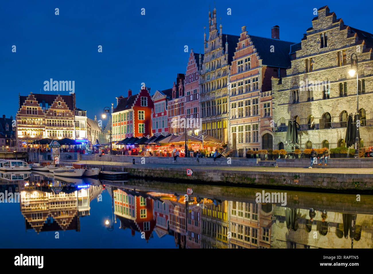 Graslei, a quay in the historic city center of Ghent, Flanders, Belgium - Stock Image