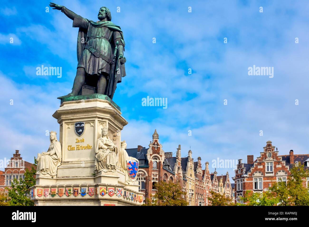 Vrijdagmarkt, Ghent, Flanders, Belgium - Stock Image