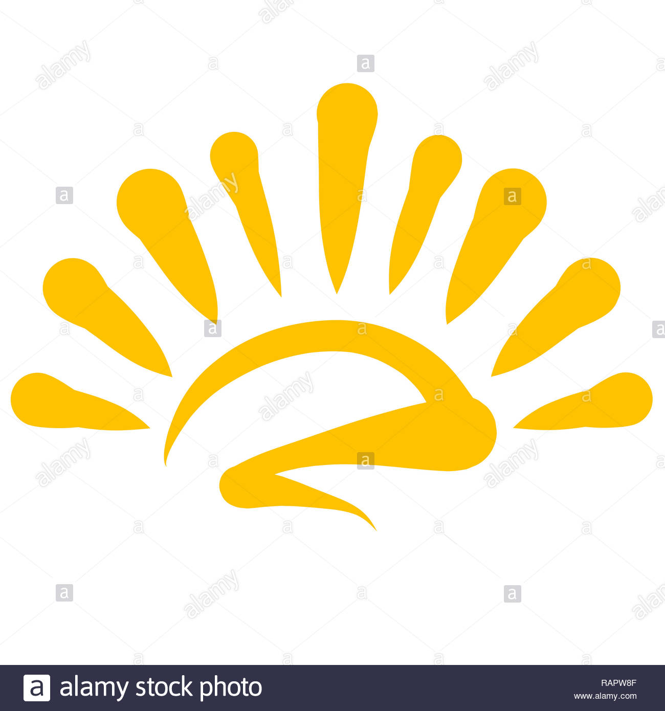 Rising or setting yellow shining sun, pattern - Stock Image