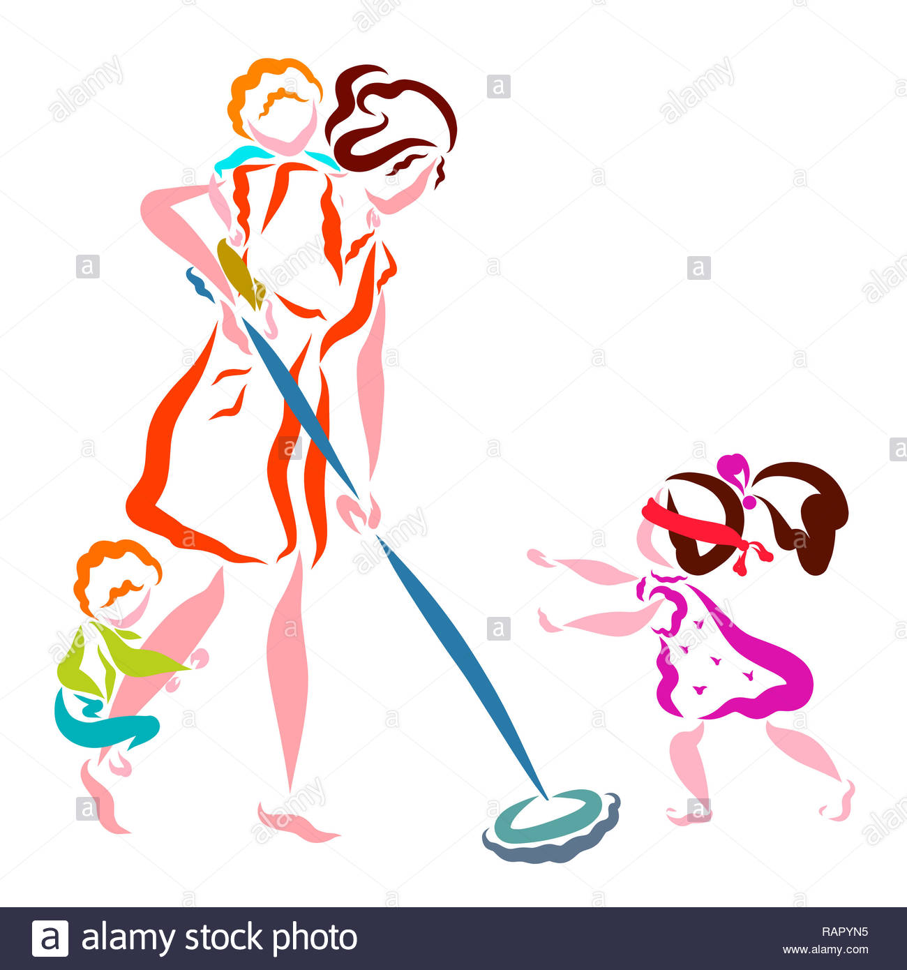 Mom washes the floors, children play hide-and-seek and hide on mom - Stock Image