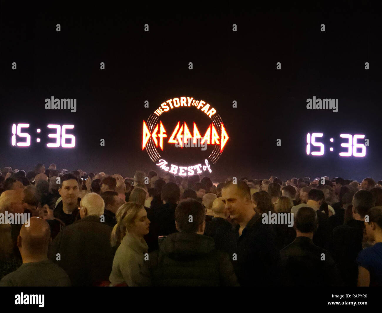 Minutes before the start of the Def leppard concert on their Hysteria tour at the Manchester Arena on 12th December 2018 - Stock Image