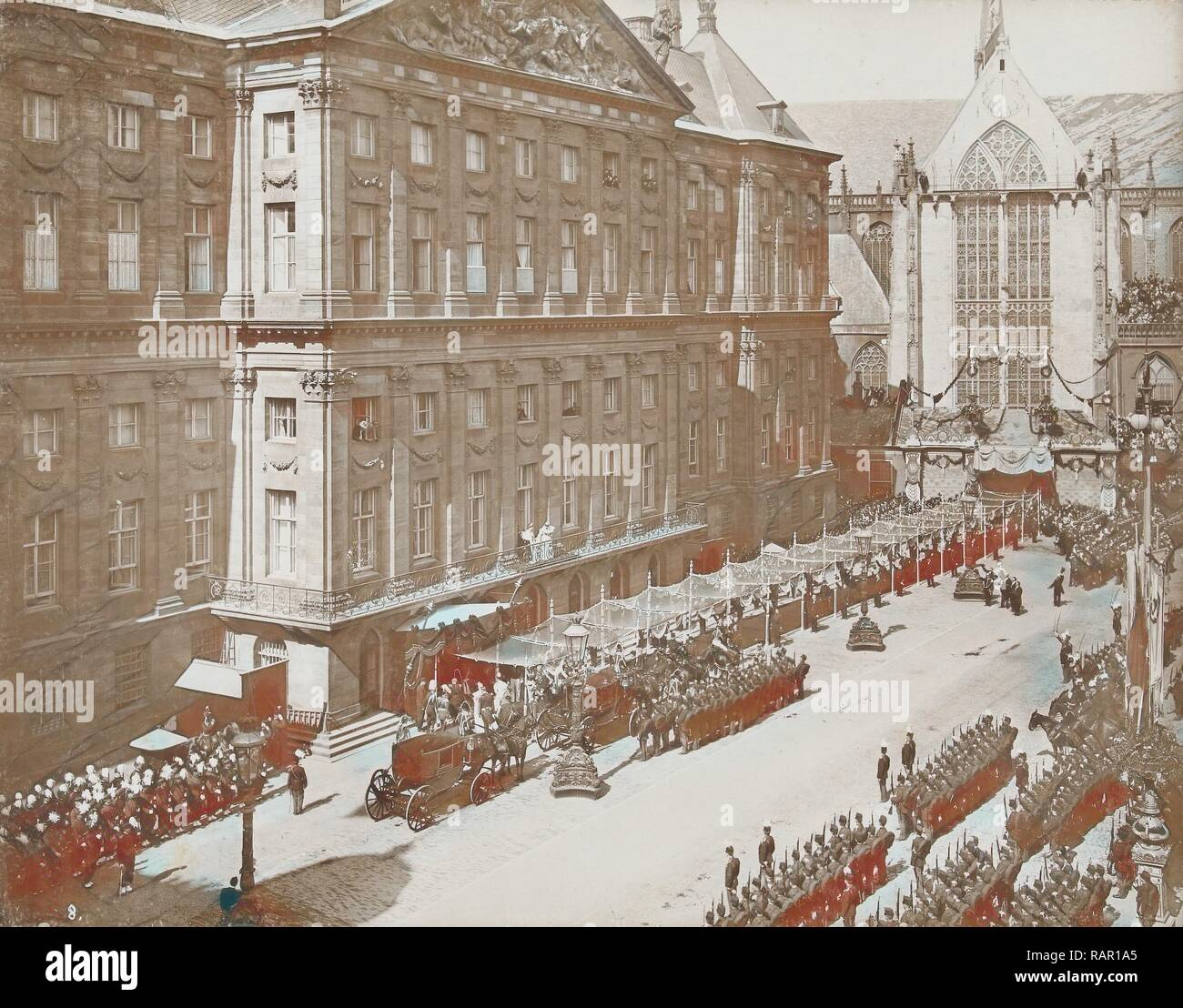 Salute Wilhelmina by soldiers and civilians after her coronation as Queen at the Royal Palace on Dam Square reimagined - Stock Image
