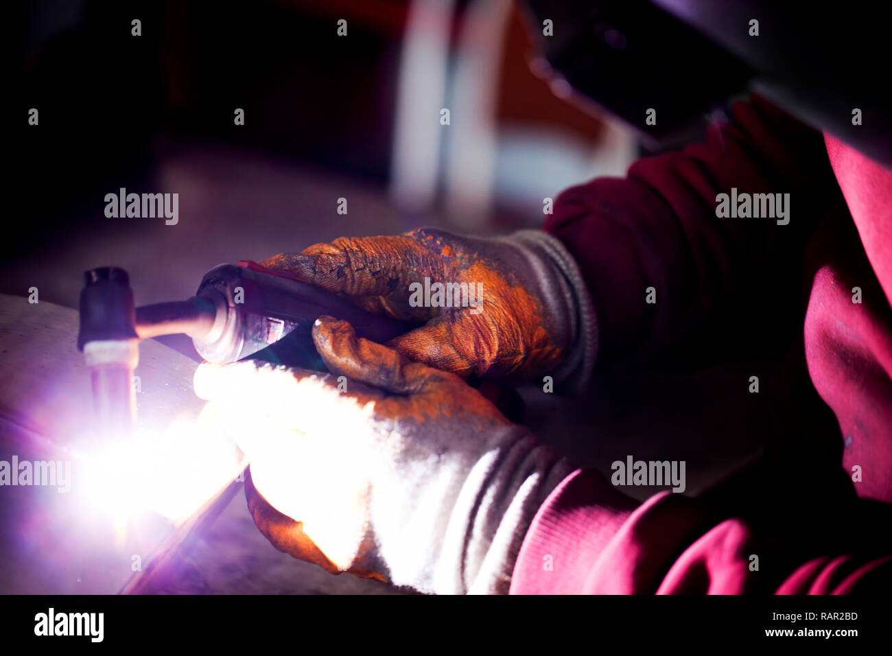 Arc Welding in Construction Area Industrial Concept Stock Photo