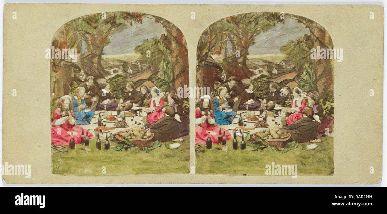 Scene in garden: company during picnic, Anonymous, 1855 - 1865. Reimagined by Gibon. Classic art with a modern twist reimagined - Stock Image
