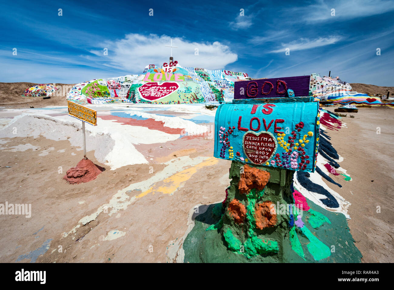 NILAND, CALIFORNIA - AUGUST 21 2018: Leonard Knights painted Salvation Mountain on Beal Road  outside of Niland, California - Stock Image