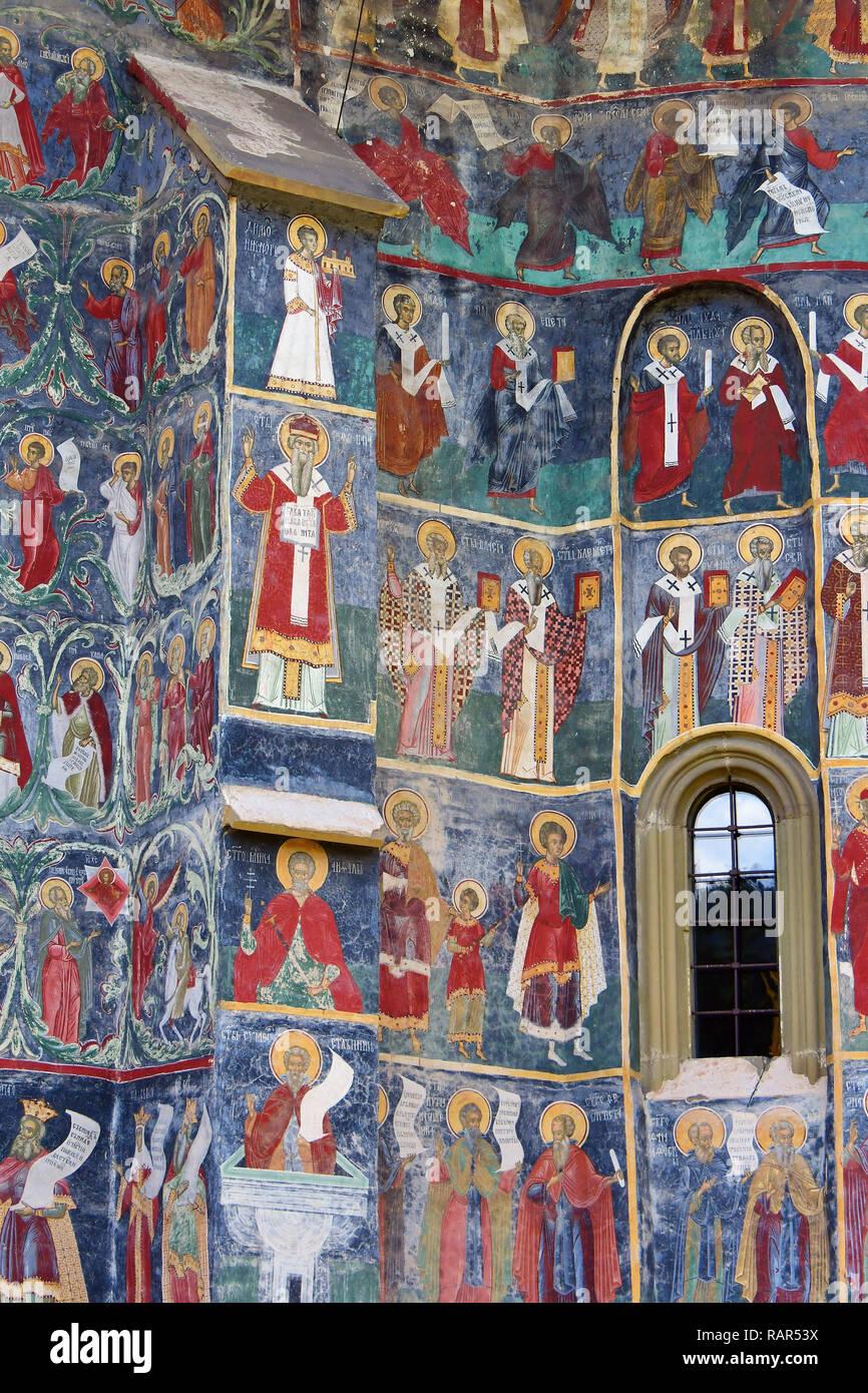 The Sucevita Monastery, Romania. UNESCO World Heritage Site, Bukovina, Romania, Europe. Sicevita kolostor. - Stock Image