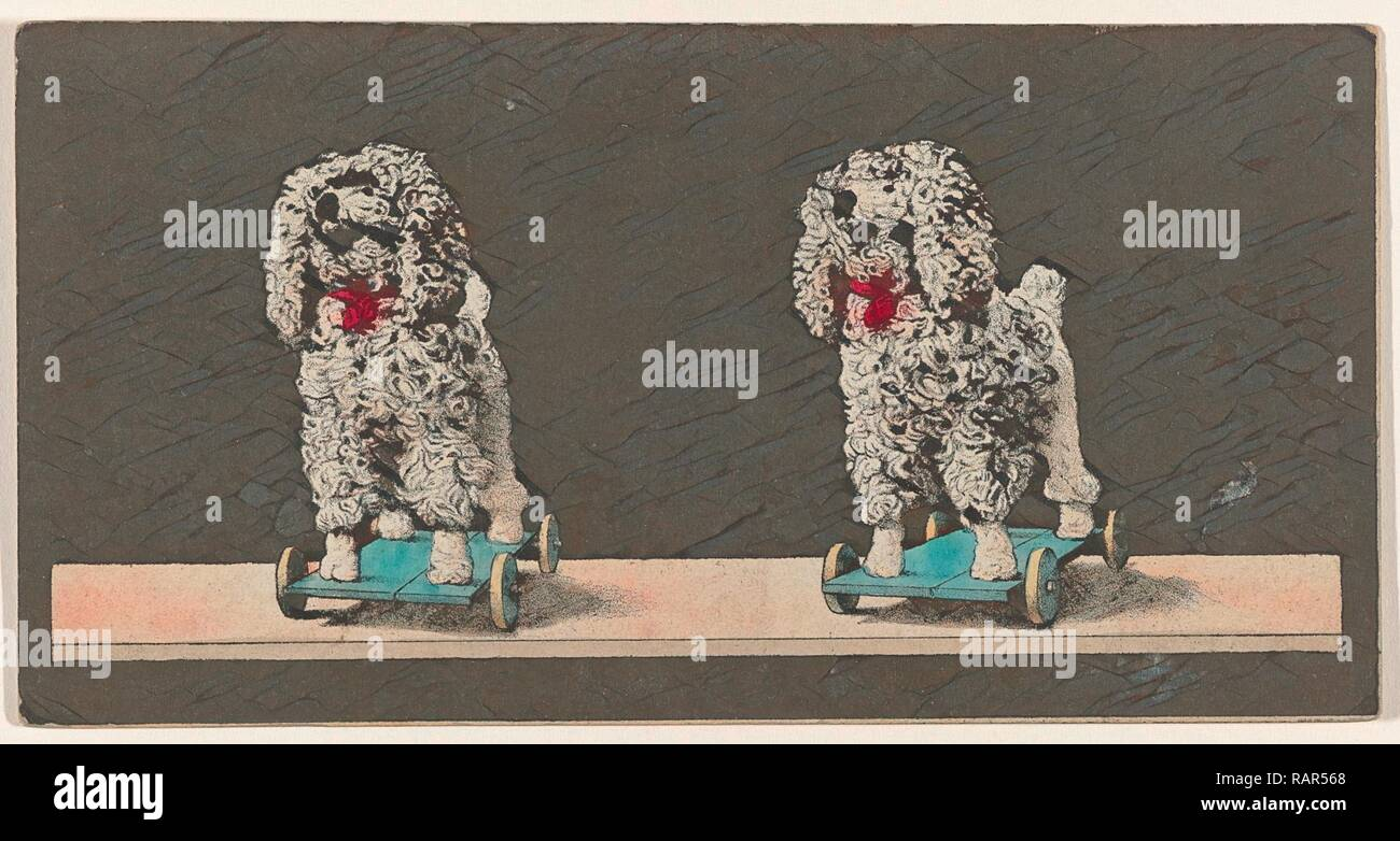 Toy, dog on wheels, stereo lithography. Reimagined by Gibon. Classic art with a modern twist reimagined - Stock Image