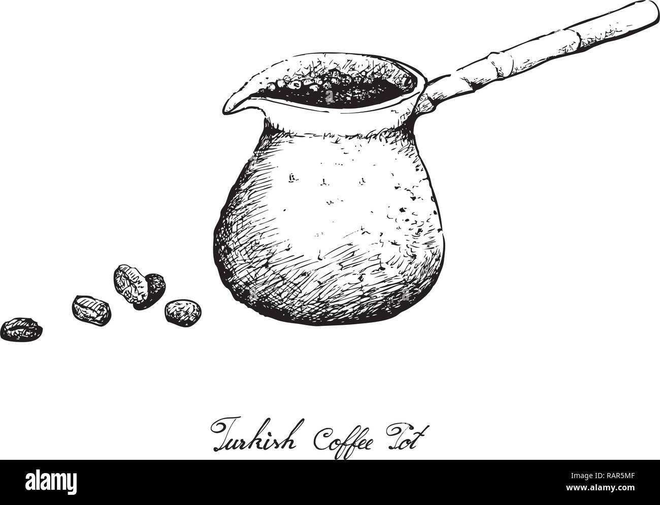Turkish Cuisine, Turkish Coffee with Cezve or Coffee Pot. One of The Popular Drink in Turkey. - Stock Vector