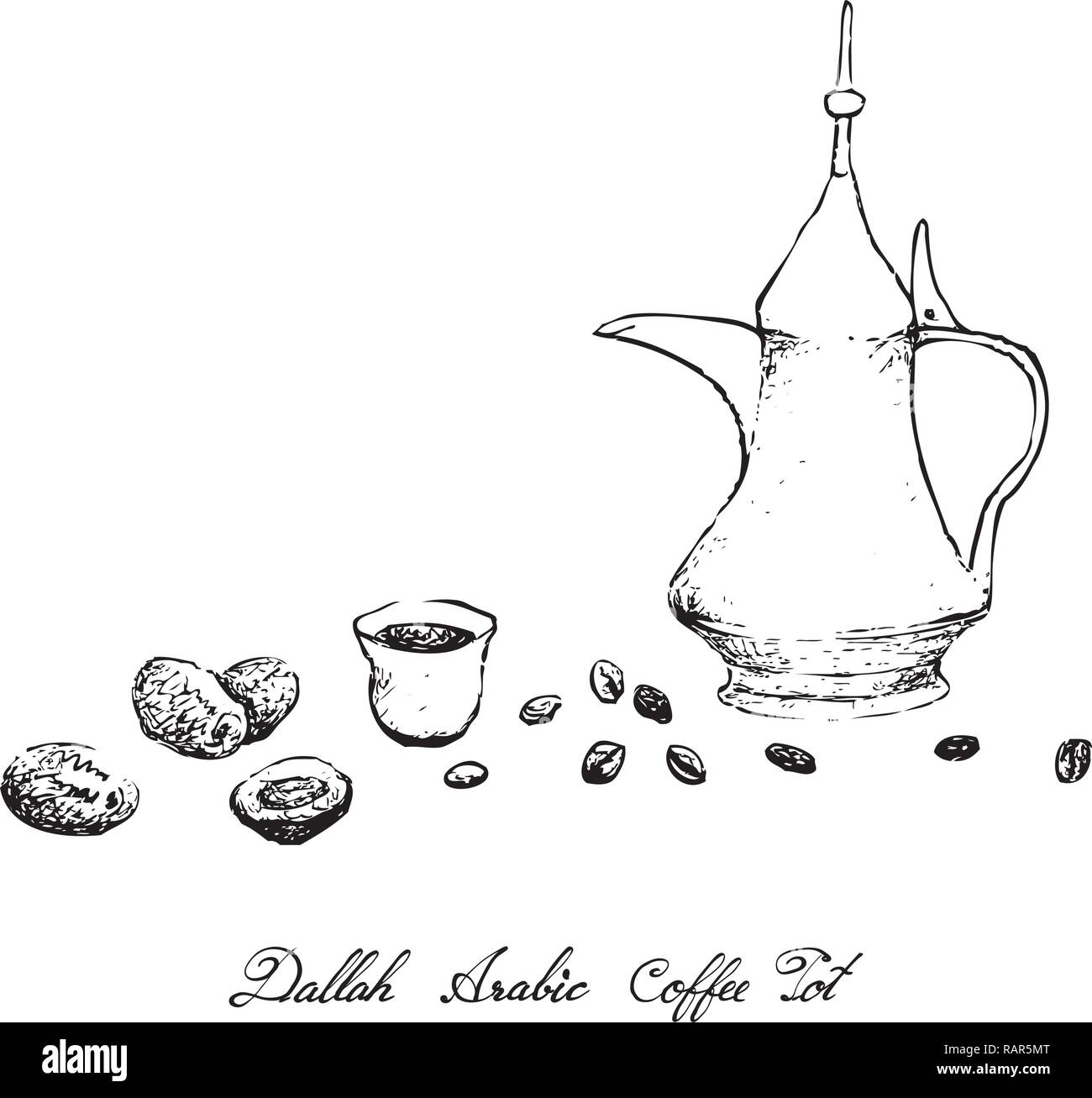 Turkish Cuisine, Hot Coffee with Dallah or Arabic Coffee Used for Centuries to Brew and Serve Qahwa or Gahwa. - Stock Vector