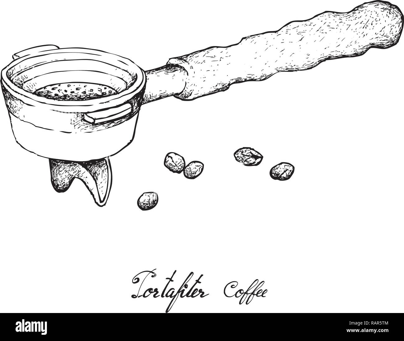 coffee time illustration hand drawn sketch of roasted coffee beans in metal portafilter or filter holder of espresso machine stock vector image art alamy https www alamy com coffee time illustration hand drawn sketch of roasted coffee beans in metal portafilter or filter holder of espresso machine image230390852 html