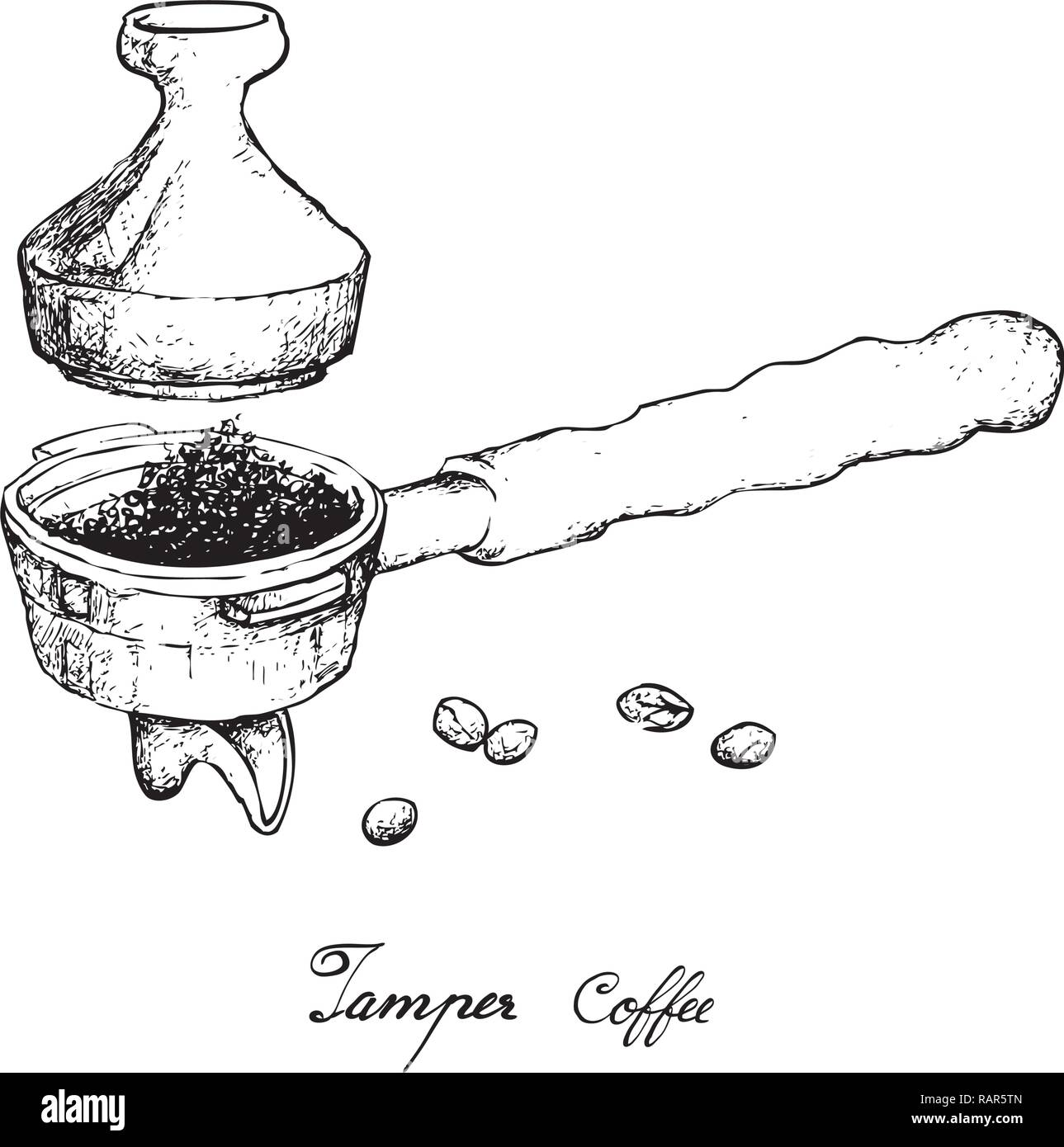 coffee time illustration hand drawn sketch of roasted coffee beans in metal portafilter or filter holder with tamper of espresso machine stock vector image art alamy https www alamy com coffee time illustration hand drawn sketch of roasted coffee beans in metal portafilter or filter holder with tamper of espresso machine image230390853 html