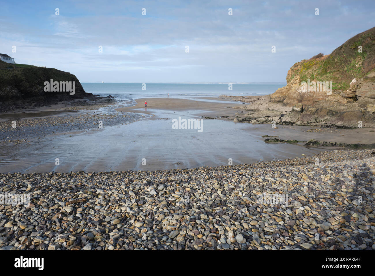 Low tide at Little Haven beach in Winter. - Stock Image