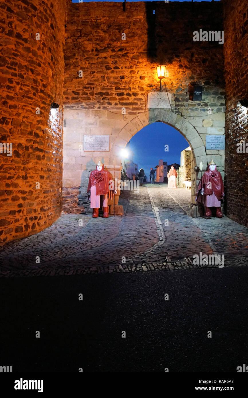 Christmas figures in Monsaraz, Portugal - Stock Image