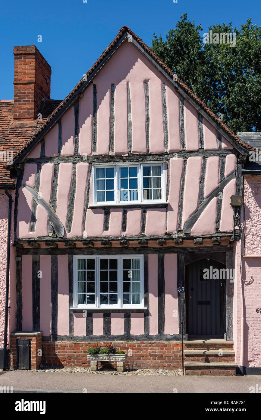 Period timber-framed house, Church Street, Lavenham, Suffolk, England, United Kingdom - Stock Image