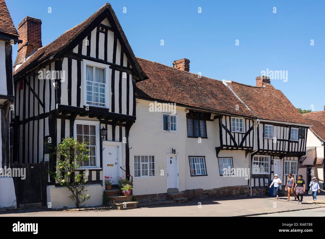 Period houses, Church Street, Lavenham, Suffolk, England, United Kingdom - Stock Image