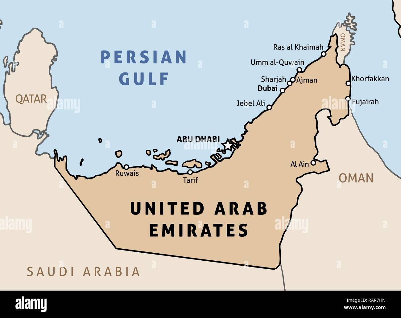 United Arab Emirates (UAE) map. Outline vector country map with main cities and data table. - Stock Vector