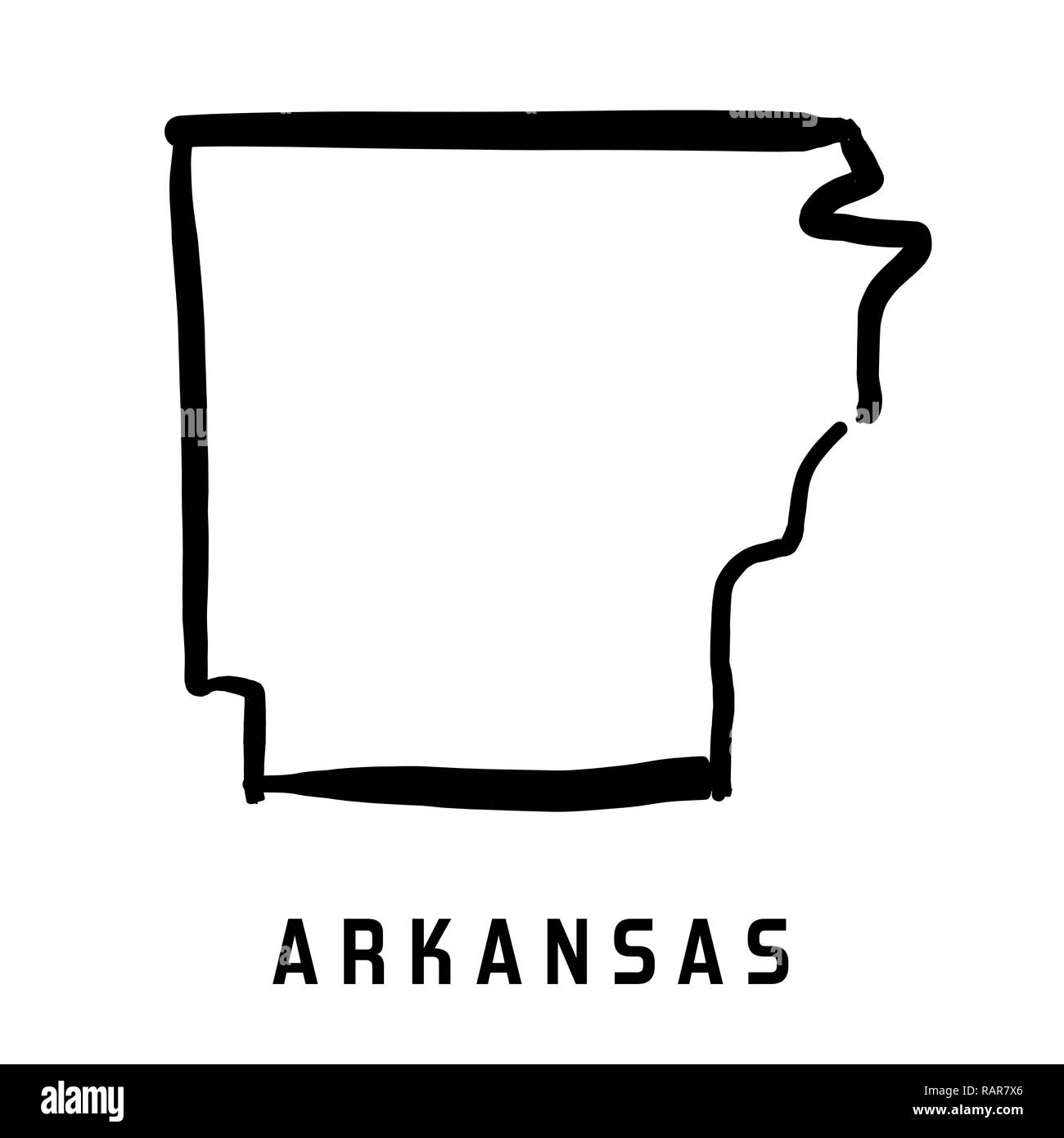 Image of: Arkansas State Map Outline Smooth Simplified Us State Shape Map Vector Stock Vector Image Art Alamy