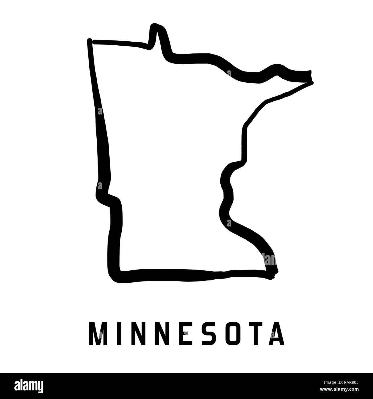 Minnesota State Map Outline Smooth Simplified Us State Shape Map