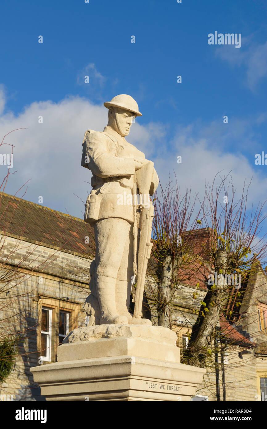 War memorial in the village of Somerton, Somerset, England,UK - Stock Image