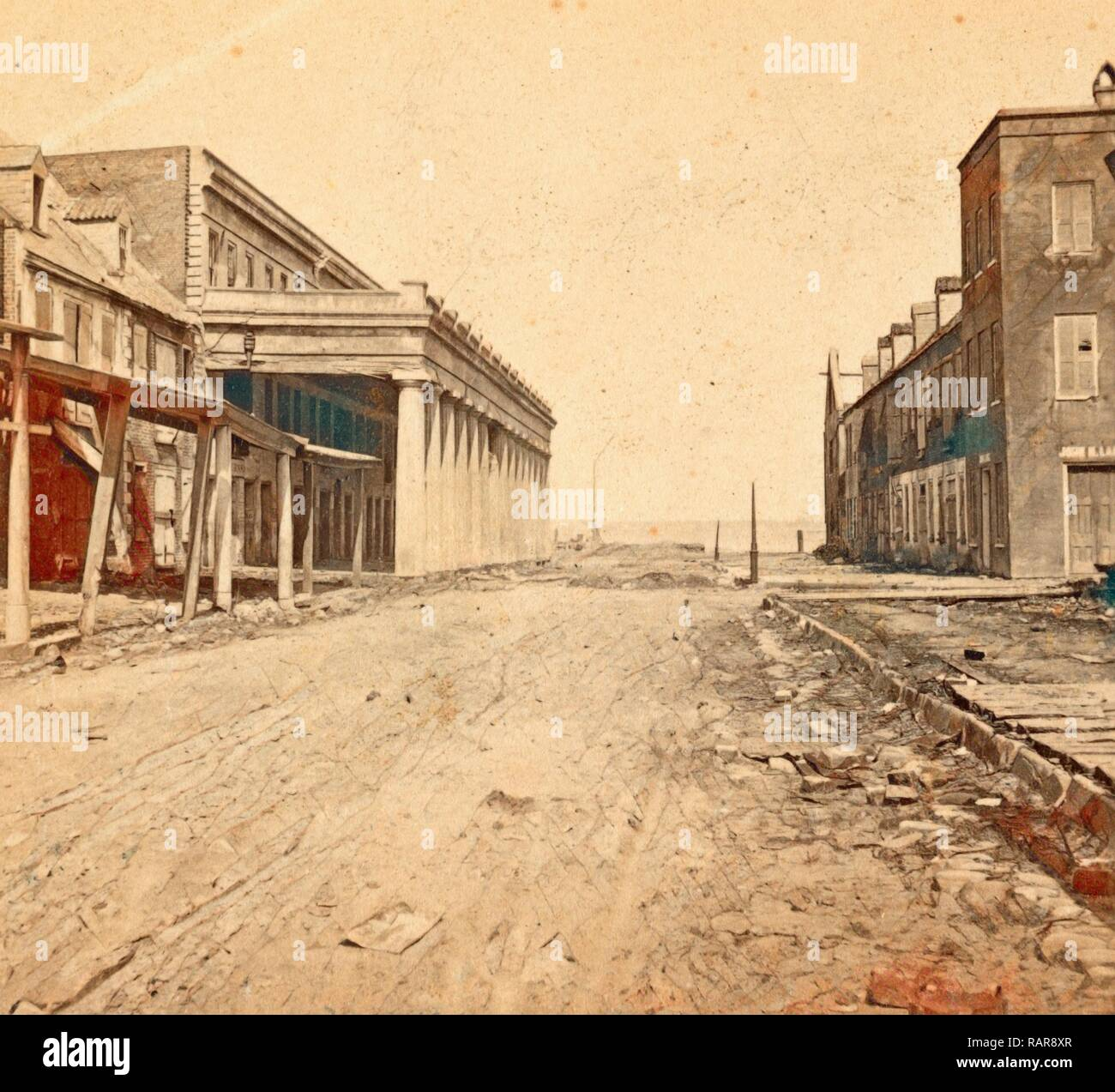 Vendue Range, Charleston, S.C., looking east, from near the corner of East Bay St., USA, US, Vintage photography reimagined - Stock Image