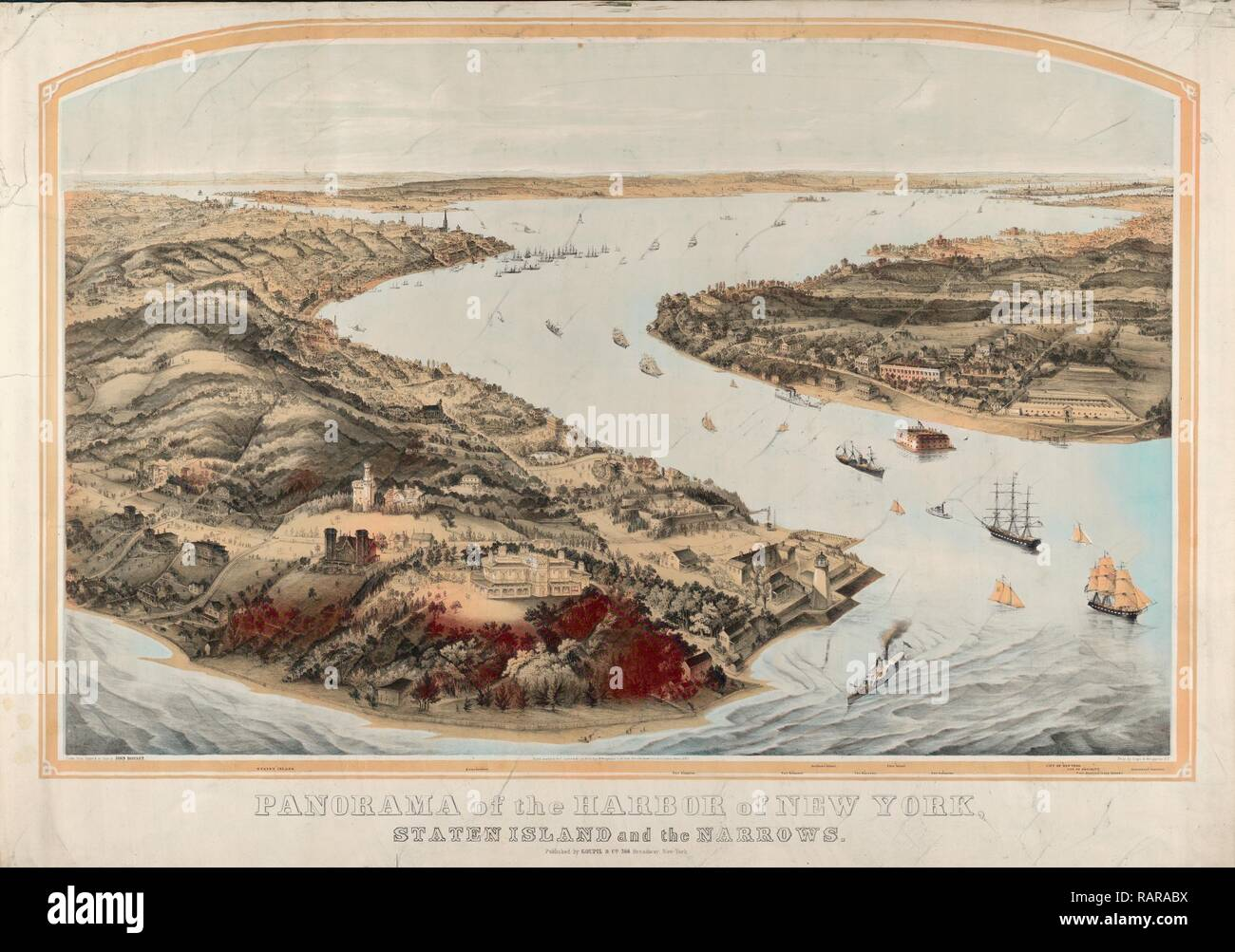 Panorama of the harbor of New York, Staten Island and the narrows, Nagel & Weingärtner, printmaker, New York: Goupil reimagined - Stock Image